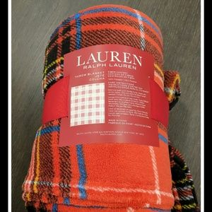 Ralph Lauren Dark Red Winter Cozy Throw Blanket